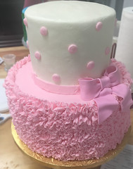 Ruffles Bow Polka dots (backhomebakerytx) Tags: cake birthday kid ruffles bow pink polka dots two tier cute girl baby