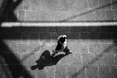 view from above.. (ckollias) Tags: lines textured blackandwhitephotography blackandwhite bwcollection bwphotooftheday bwsworldwide day fulllength lifestyles nature oneperson outdoors people realpeople shadow shadows street streetphotography streetphotobw walking walkingalone women youngadult youngwomen