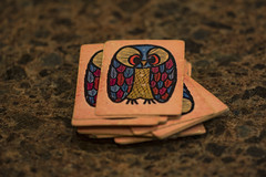 Playing Cards (adamopal) Tags: canon canon7d canon7dmkii canon7dmarkii oldplayingcards old playingcards playing cards owl owlcards macro100mm 100mm grey pink red blue tan gold
