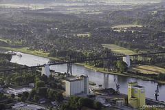 Rendsburg Railway Bridge crossing Kiel Canal, Germany (peterkaroblis) Tags: kielcanal nordostseekanal rendsburgbrücke rendsburghafen schleswigholstein ballonfahrt balloonride geometrie geometry