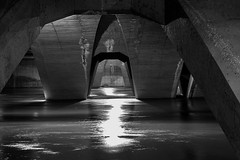 Under the bridge (Daniel Nebreda Lucea) Tags: water agua bridge puente architecture arquitectura light luz shadow sombra lights luces shadows sombras shapes formas building construcion curves curvas night noche city ciudad black white blanco negro monochrome monocromatico texture textura noir travel viajar canon 50mm 60d urban urbano fear miedo dark darkness oscuro oscuridad under debajo down river rio