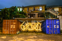 Contain(er)ed. (stephenk1977) Tags: australia queensland qld brisbane nikon d3300 night bowenhills abandoned development light painting art lightflute