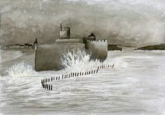 fort dans la tempête (ybipbip) Tags: aquarelle aquarell akvarell watercolor watercolour paint painting pintura paysage landscape