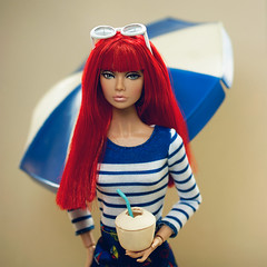 A-Z challenge: A - All Aboard! (sadeyeddoll) Tags: integritytoys britishinvasion poppyparker doll portrait umbrella summer sunglasses nautical mattel barbie fashionista 61 niceinnautical outfit orcara fruit miniature set3 drink