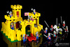 Knights and squires approaching the Yellow Castle (bricks360) Tags: lego лего 레고 375 6075 vintage yellow castle classic knights medieval legoland bricks360 brick 360 toyphotography legophotography legography