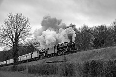 1T57: The Fifteen Guinea Finale (VehicularBrit) Tags: steam train engine locomotive black 5 45379 45231 sherwood forester watercress line mid hants railway spring gala 2018 50th anniversary mono ropley medstead four marks station 1t57