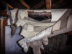 Significantly Damaged Aircell Asbestos Pipe Insulation (Asbestorama) Tags: asbestos asbesto amiante amianto asbest safety risk hazard exposure ih acm survey inspection industrialhygiene pipe tsi thermal system mechanical insulation lagging aircell corrugated damage paper