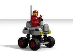Springy Rover (David Roberts 01341) Tags: lego ldd povray classicspace scifi rover buggy vehicle minfigure redspaceman febrovery