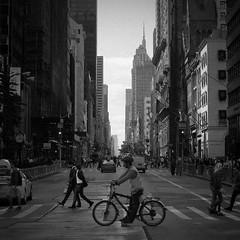 Streetview 5th Ave. Manhattan (akarakoc) Tags: bergger pancro 400 canon ae1 newyork city manhattan street streetphotography monochrome blackandwhite bicycle pedestrian 5th ave avenue film photography