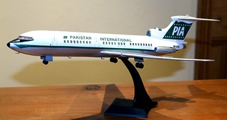 VEB Plasticart de Haviland 121 Trident 2E finished in Pakistan International Airlines livery with a Revaro RU decal sheet.
