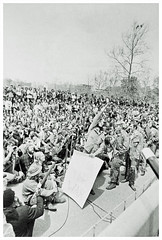Vietnam veteran hurls medals in protest of the war: 1971 # 1 (washington_area_spark) Tags: vietnam veterans against war vvaw operation dewey canyon iii indochina 1971 washington dc protest demonstration encampment us capitol rally toss medals ribbons discharge papers commendations throw trash