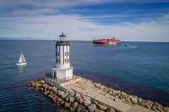 Los Angeles Harbor Light (Angels Gate) (Roving Vagabond aka Bryan) Tags: losangeles lighthouse light california ca harbor ship water ocean sailboat bay containership seaside seascape losangelesport longbeachport port nationalhistoricsite sea sky boat rock clouds cloud drone dji djiphantom4 explore angels