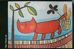 Art - Yukiko Shimanuki - French Cat - Different Countries RR group 65 - leaves-moon (a_garvey) Tags: art cat postcard postcrossing japan