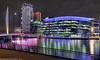 Media City-5 (andyyoung37) Tags: manchester manchestershipcanal mediacity nighttime salfordquays uk waterreflections bridge lightreflections