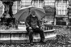 Déprimé par la pluie! / Depressed because of the rain! (vedebe) Tags: noiretblanc netb nb bw monochrome humain homme human people pluie ville city rue street urbain urban provence