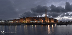 The Albert dock, Liverpool. (alundisleyimages@gmail.com) Tags: albertdock canningdock salthousedock waterfront liverpool panorama cityscape architecture weather clouds sky dusk carousel attraction tourism portsandharbours northwestengland water reflections ripples trees lights maritimehistory chimney bigwheel