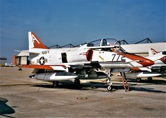 TA-4J Skyhawk 153680/A-772 VT-7/TW-1 U.S.Navy. Photo was taken a month before the TA-4J was retired from the training duty. Most of them were flown to Davis-Monthan AFB, near Tucson, Arizona for storage. NAS Meridian, Mississippi, 04-08-1999. (Aircraft throughout the years) Tags: a4 ta4j skyhawk 153680 a772 vt7 tw1 usnavy usn photo was taken month before retired from training duty most them were flown davismonthan afb near tucson arizona for storage nas meridian mississippi 1999