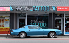 1979 Chevrolet Camaro (stephen trinder) Tags: stephentrinder stephentrinderphotography thecarsofchristchurch thecarsofchristchurchnewzealand christchurchcars usa america christchurch christchurchnewzealand impala impalatattoos tattooparlour chev chevrolet chevvy camaro 1979 parked papanui cool blue style speed power design tattoos tattooist new
