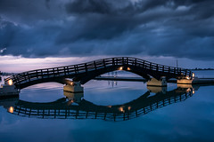 Lefkada,Greece (photog1900) Tags: sony nex 5r greece hellas lefkada 16 50 oss pz bridge sea sunset clouds reflection blue hour kit lens