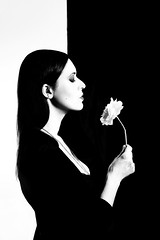 The Flower (elgunto) Tags: portrait woman blackwhite highcontrast silhouette graphicdesign flower people lights flashes homemadestudio sonya7 tamron287528 zoomlens