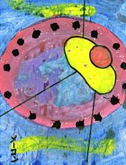 Yellow Suspension Antics [1,001 Sobas with Senpai #738] (Marc-Anthony Macon) Tags: art dada dadaism dadaist dadaísmo outsiderart folkart rawart popart surrealism intuitiveart soba senpai japanesefood japanese noodles egg eggs