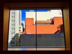 inside looking out at SFMOMA Museum (Fuzzy Traveler) Tags: sfmomamuseum sfmoma museum building architecture cityscape stairwell stairs windows glass