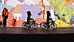Down the Line (cryingman) Tags: city losangeles california adventure biking urban lego canon simpsons