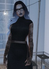 Feeling the cold colours today (Hanzworld) Tags: cold blue cool black tanned glasses thaliaheckroth dress lights selfie sl secondlife