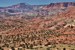 Utah SR-24 and a Look Across the Fold of Earth and Cliff Walls in Capitol Reef National Park