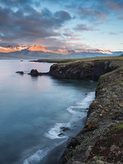 Closer to the edge (v-_-v) Tags: austurland island is iceland mountain ocean water waves sunrise clouds landscape travel cliff rocks