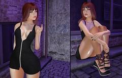 ♚ Look #391 ♚ (Caity Saint) Tags: cranked dress redhead sl backdrop secondlife pixels equal