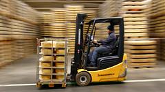 Yellow speed (Explore) (Cajofavi) Tags: fs180121 panorering fotosondag kalmar sweden truck arla arlafoods forklift ost cheese warehouse