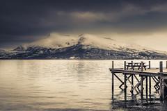 Prelude (Sizun Eye (OFF for a while)) Tags: lofoten norway mountains snow fjord jetty recreation relax dramatic molo jetée sizuneye nikond750 tamron2470mmf28 monochrome