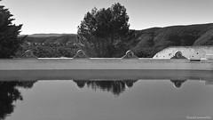 the water lookout - El mirador de agua (Explore) (ricardocarmonafdez) Tags: paisaje landscape cielo sky niebla fog mist agua water arboles trees reflejos reflections 60d 1785isusm canon monocromo monochrome blackandwhite naturaleza nature pool reservoir lookout