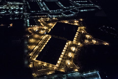 Old Lights, New Lights (Matt Molloy) Tags: mattmolloy photography birdseyeview airplane yellow blue lights dots lines buildings lovelife