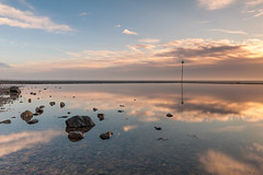 Mirror Beach (shammondphoto) Tags: sunrise reflection goldenhour lowtide reflected shoeburyness eastbeach winter rocks still groyne cloud sky bluesky sunlight outdoor coast coastal
