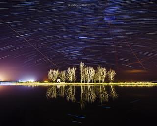 Star trail in the Sorraia river