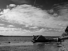 Clouds over Raritan Bay (Dendroica cerulea) Tags: clouds sky bay ruin fortification water coast blackandwhite bw monochrome winter raritanbay sandyhook gatewaynationalrecreationarea monmouthcounty nj newjersey