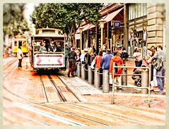 Now Boarding (PEN-F_Fan) Tags: sanfrancisco california unitedstates cablecar downtown people art texture style photomorphis coloresytexturasv113 tracks street trees olympuse420 olympus1442mmf3556 fourthirds mirrorless border frame edge