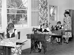 Salisbury State High School, Sewing - Brisbane (Queensland State Archives) Tags: girls students teacher teaching classroom sewing education secondary domesticscience salisburystatehighschool brisbane material archives queensland history qld queenslandstatearchives
