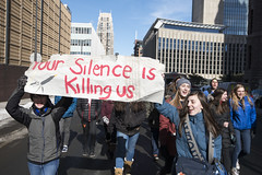 High school students protest against lack of action on school shootings (Fibonacci Blue) Tags: minneapolis mpls protest march shooting demonstration event gun dissent nra outcry outrage twincities minnesota school student people crowd city banner sign activist activism