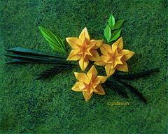 narcissus origami (polelena24) Tags: origami flower narcissus daffodil leaf hexagon
