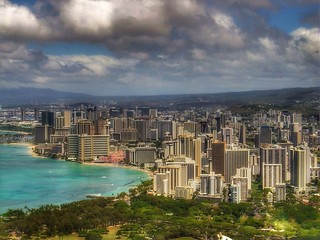 Honolulu skyline, as seen from Diamond Head.