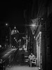 Late solo dinner, Rome, Italy (a_bygg) Tags: people road sign monochrome black white building lowlight italy rome