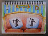 Grim repercussions... (Dave Whatt) Tags: humour drawing colour notebook colourpencil silliness daftness puns sofa cushions