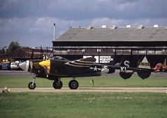 N3145X. Lockheed P-38J Lightning (Ayronautica) Tags: warbird lockheedp38jlightning n3145x ayronautica aviation scanned farnborough eglf september 1994 airshow