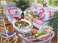 Ten Tabbies (Higgins Bond) (Leonisha) Tags: puzzle jigsawpuzzle kittens kätzchen puzzling wohnzimmer puzzleinpuzzle wpd