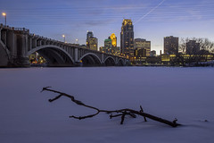 3rd Avenue Bridge and Minneapolis (Sam Wagner Photography) Tags: winter wide low angle mighty mississippi river twilight blue hour long exposure fresh snow ice cold frozen minneapolis downtown skyline buildings architecture modern urban city cityscape