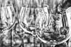 Wine cups (Carlos A. Aviles) Tags: glass cups wine vino copas vasos crystal cristal blackandwhite blancoynegro empty vacio