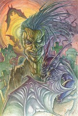 In a dark place (phrenan) Tags: traditional watercolor pencils drawing dibujo acuarela bats zombie demon cementery graveyard aerografo monster illustration